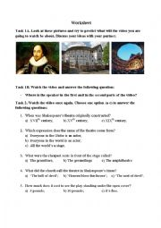 English Worksheet: Shakespear�s Globe Theatre Video from You-tube