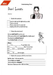 English Worksheet: Warrior by Demi Lovato (song)