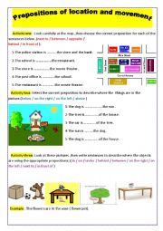English Worksheet: prepositions of location and movement