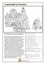 English Worksheet: a special gift - christmas reading