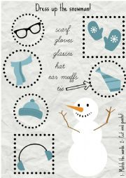 English Worksheet: Dress up the snowman