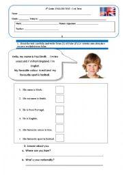 English Worksheet: Evaluation Test- 4th Grade