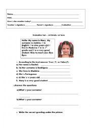 English Worksheet: Evaluation Test- 3rd  Grade