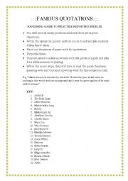 English Worksheet: Snowball game with famous quotes to practise Reported Speech