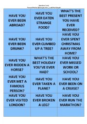 Present Perfect and Past Simple Question Cards