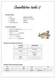 English Worksheet: Consolidation tasks for beginners (6th form)