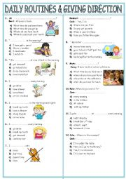 English Worksheet: daily routines& giving direction test TWO PAGES
