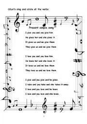 English Worksheet: Present simple song