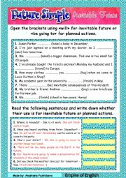 English Worksheet: Future Simple for inevitable future  + video