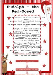 English Worksheet: Rudolph - the Red-Nosed Reindeer (fill in the gaps, present and past simple
