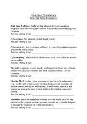 English Worksheet: Computer Vocabulary: Internet Safety