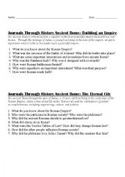 English Worksheet: Ancient Rome - Video Questions