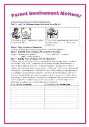 English Worksheet: 8th form lesson 5 Parents and education group session (video)