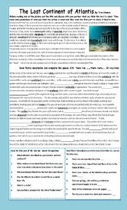 English worksheets: The lost continent of Atlantis ...
