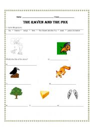english worksheets the raven and the fox vocabulary. Black Bedroom Furniture Sets. Home Design Ideas