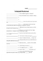 English Worksheet: Volleyball Worksheet