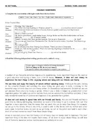 English Worksheet: holiday homework