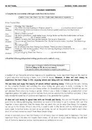 English Worksheet: holiday homework