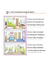 English worksheet: PARTS OF THE HOUSE- THERE IS/THERE ARE QUESTION FORM AND READING MULTIPLE CHOICE