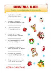 English worksheet: Christmas Clues