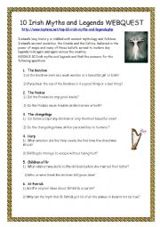English Worksheet:  10 Irish Myths and Legends - WEBQUEST