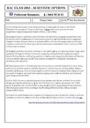 English Worksheet: READING COMPREHENSION BAC EXAM 2013 (Morocco)