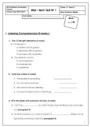 English Worksheet: Mid � term Test No 1 (1st form)