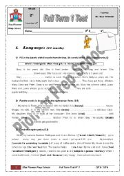 English Worksheet: Sfax Pioneer Prep School 7th Form Full Term Test 1