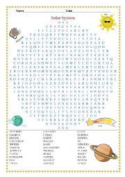 English Worksheet: Solar System Wordsearch