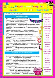 English Worksheet: Regular and Irregular Verbs