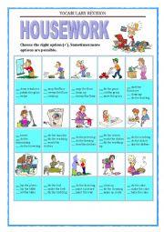 English Worksheet: VOCABULARY REVISION -  HOUSEWORK - multiple choice