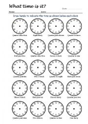 English Worksheet: What Time Is It? Drawing Clock Hands 3/4