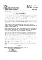 English Worksheet: Wilma Rudolph