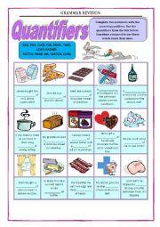 English Worksheet: GRAMMAR REVISION 3a - QUANTIFIERS