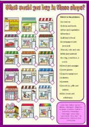 English Worksheet: What would you buy in these shops?