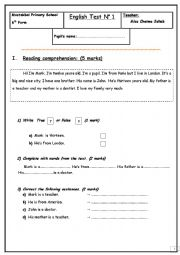English Worksheet: Test for 6th form pupils.