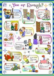 English Worksheet: TOO or ENOUGH?