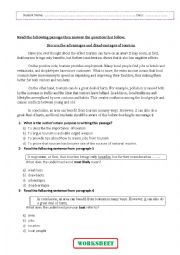English Worksheet: Discuss the advantages and disadvantages of tourism