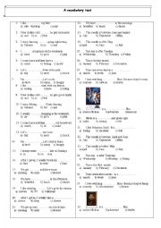 English Worksheet: a test on daily routines , dates , movie genres