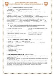 English Worksheet: test for A2 level elmntry