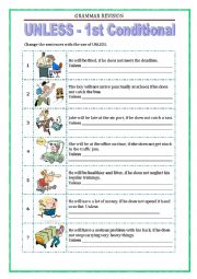 English Worksheet: GRAMMAR REVISION - UNLESS