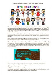 English Worksheet: International Women´s Day. Topic