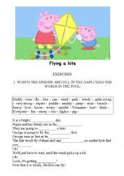 PEPPA PIG - FLYING A KITE - WORKSHEET