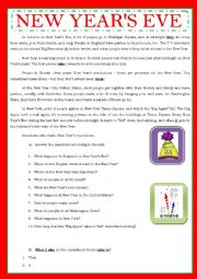 English Worksheet: NEW YEAR�S EVE IN ENGLISH SPEAKING COUNTRIES