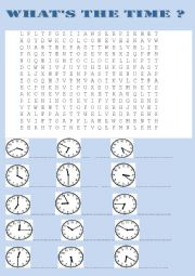 what´s the time wordsearch