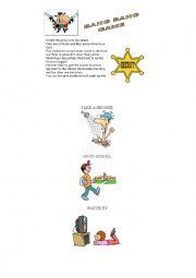 English Worksheet: Bang Bang Game with Daily Routines