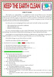 English Worksheet: KEEP THE EARTH CLEAN - ENVIRONMENT TEST B