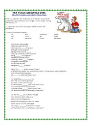 English Worksheet: New Year�s Resolution Song