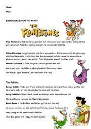 reading text about Flintstone, dialogue