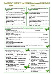 English Worksheet: Past Perfect Simple- Past Perfect Continuous - Past Simple - TEST
